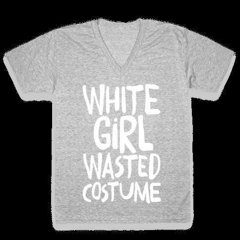 White Girl Wasted Costume V-Neck Tee Shirt