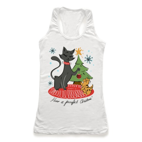 Have a Purrfect Christmas! Racerback Tank Top