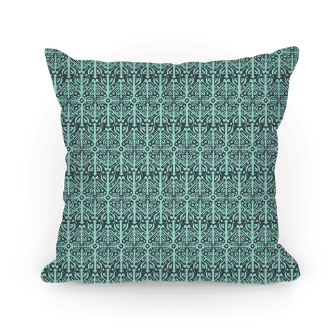 Green Medieval Pattern Pillow