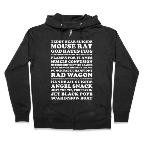Andy Dwyer Band Names Zip Hoodie