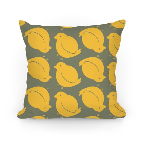 Chubby Bird Pattern Pillow (Yellow Ochre) Pillow