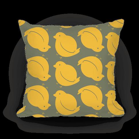 Chubby Bird Pattern Pillow (Yellow Ochre)