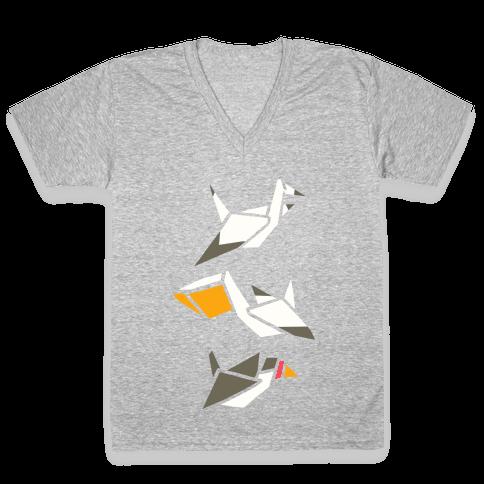 Nautical Origami Seabirds V-Neck Tee Shirt