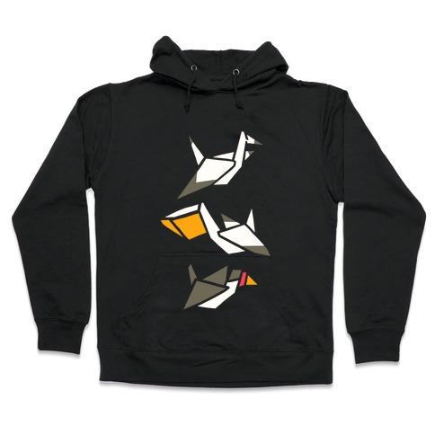 Nautical Origami Seabirds Hooded Sweatshirt