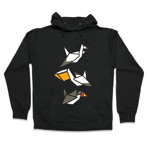 Nautical Origami Seabirds Hooded Sweatshirt