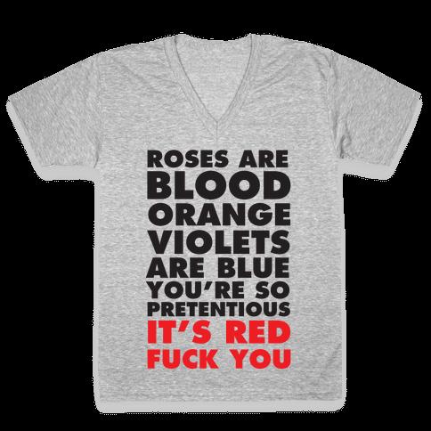 Roses Are Blood Organge V-Neck Tee Shirt