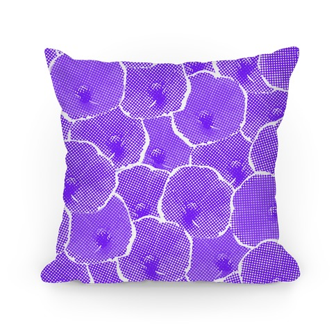 Purple Poppy Flower Pattern Pillow