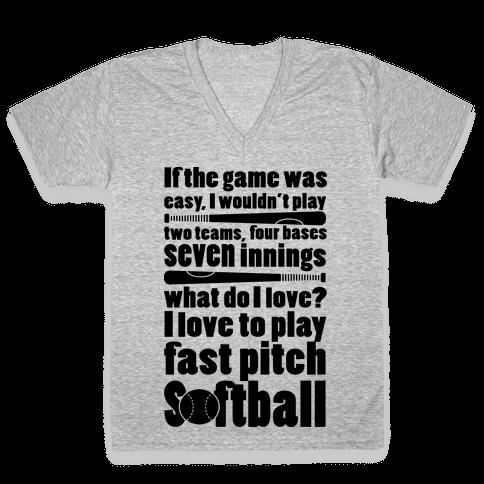 I Love Fast Pitch Softball V-Neck Tee Shirt