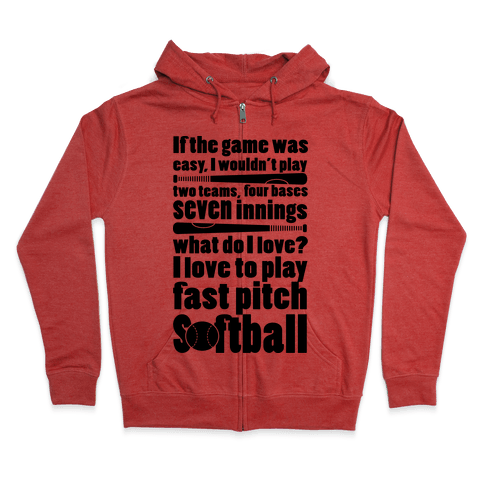 I Love Softball Zip Hoodie vmD3FVK