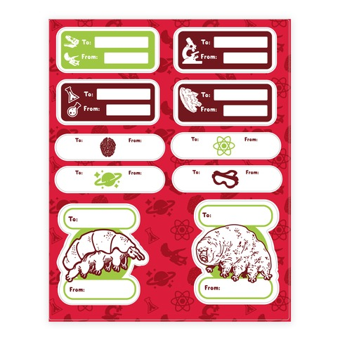 Science Christmas Gift Tags Sticker and Decal Sheet