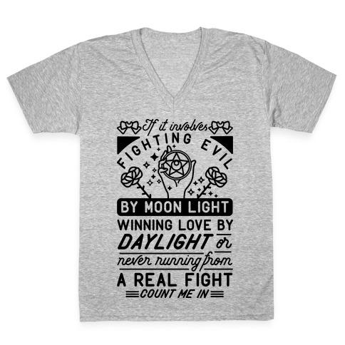 If It Involves Fighting Evil By Moon Light V-Neck Tee Shirt