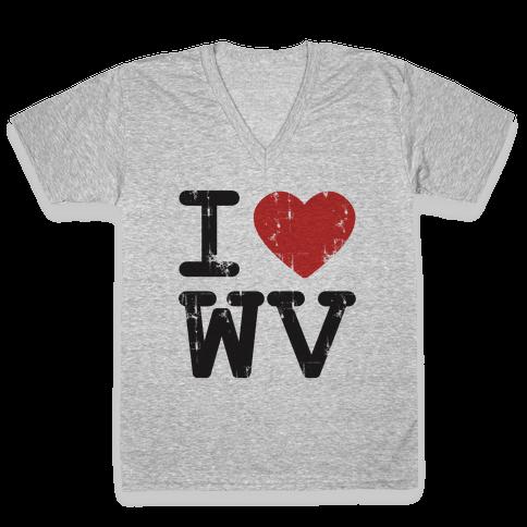 I Love West Virginia V-Neck Tee Shirt
