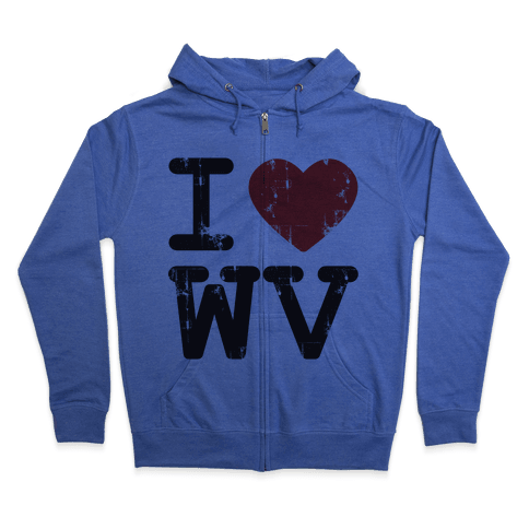 I Love West Virginia Zip Hoodie
