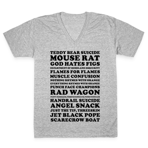 Andy Dwyer Band Names V-Neck Tee Shirt