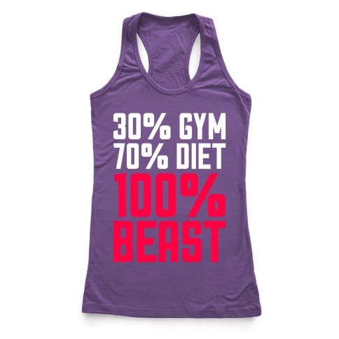 30% Gym, 70% Diet, 100% BEAST Racerback Tank Top