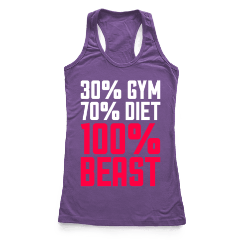 30% Gym, 70% Diet, 100% BEAST Racerback Tank Top
