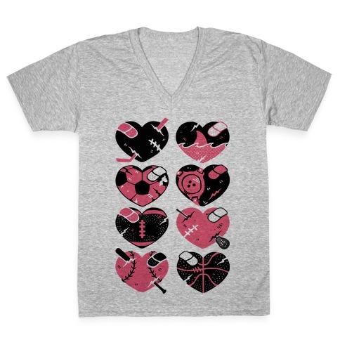 Sport Hearts V-Neck Tee Shirt