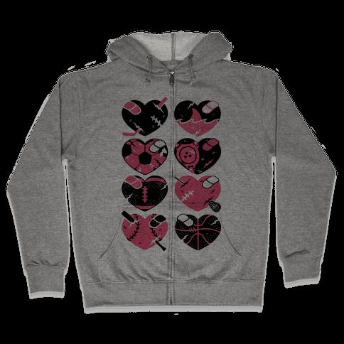 Sport Hearts Zip Hoodie