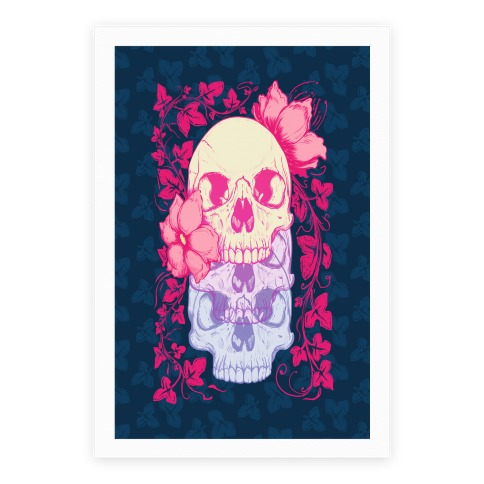 Skull of Vines and Flowers Poster