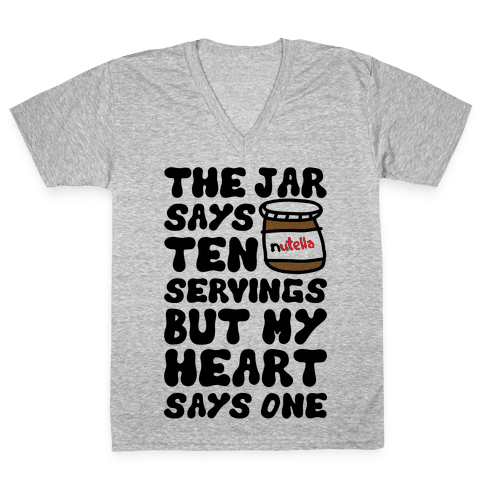 Nutella Servings Of The Heart V-Neck Tee Shirt