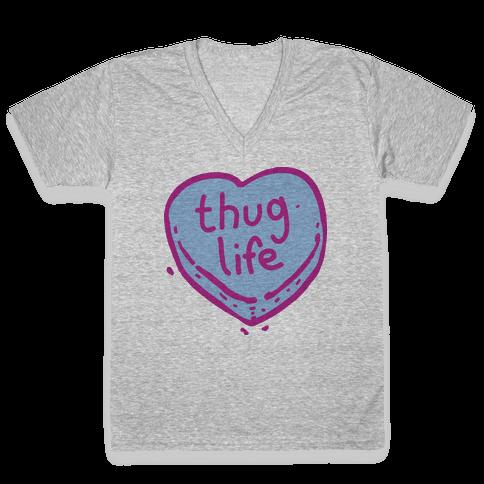 Thug Life Candy Heart  V-Neck Tee Shirt