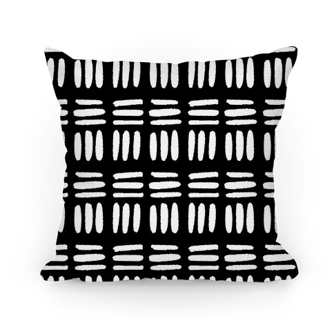 Dashed Lines Black and White Boho Pattern Pillow