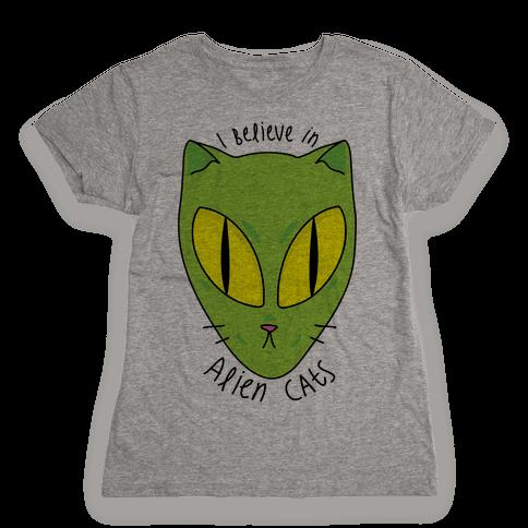 I Believe In Alien Cats Womens T-Shirt