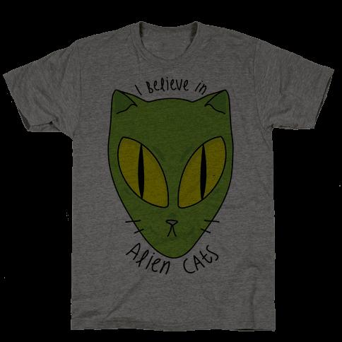 I Believe In Alien Cats Mens T-Shirt