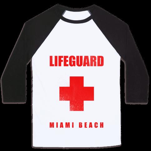 Miami Beach Life Guard (vintage) Baseball Tee