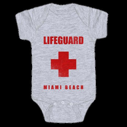 Miami Beach Life Guard (vintage) Baby Onesy