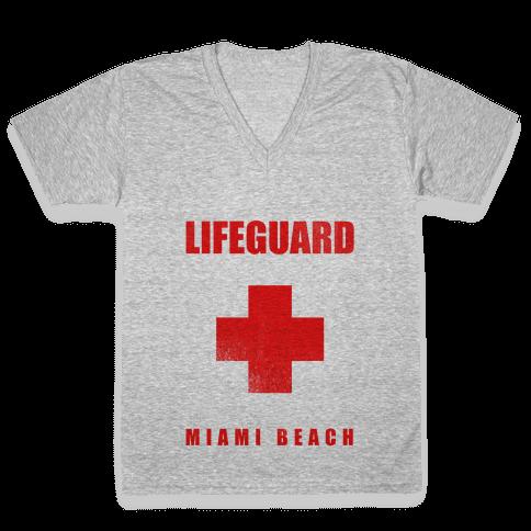 Miami Beach Life Guard (vintage) V-Neck Tee Shirt