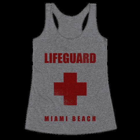 Miami Beach Life Guard (vintage) Racerback Tank Top