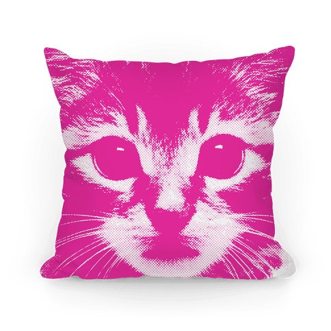 Cat Face (pink) Pillow