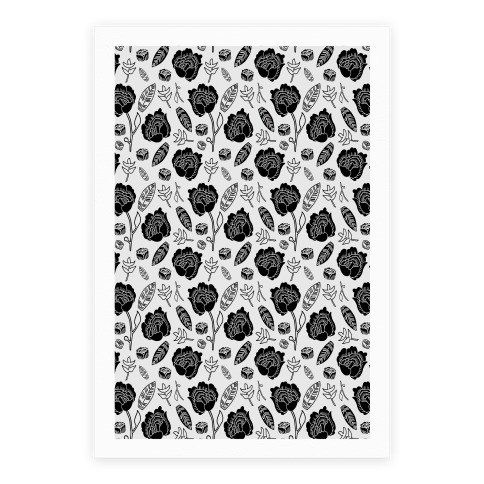 Floral and Leaves Pattern (Gray) Poster