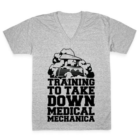 Training to Take Down Medical Mechanica V-Neck Tee Shirt