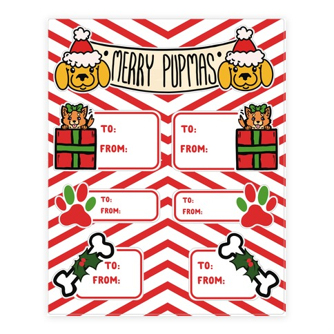 Christmas Puppy Gift Tags Sticker and Decal Sheet