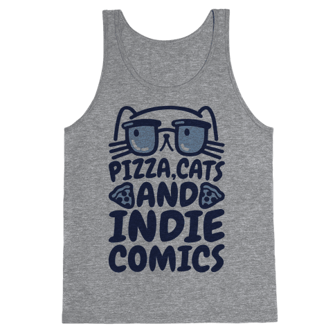 Pizza, Cats and Indie Comics Tank Top