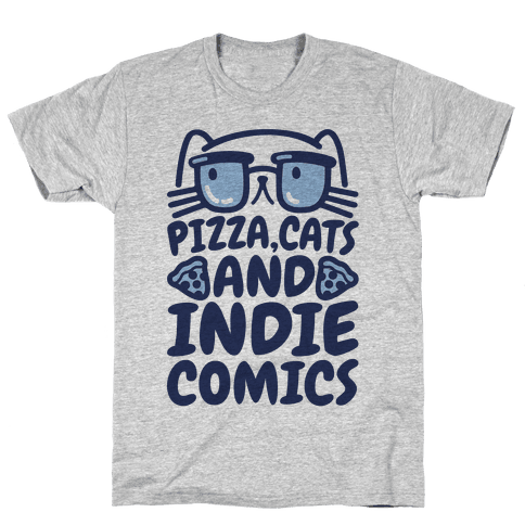 Pizza, Cats and Indie Comics Mens T-Shirt