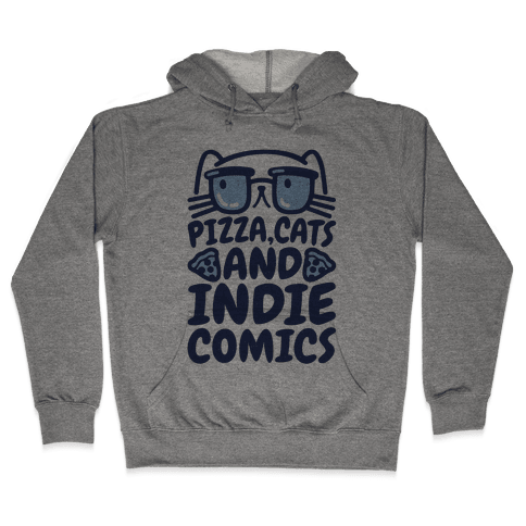 Pizza, Cats and Indie Comics Hooded Sweatshirt