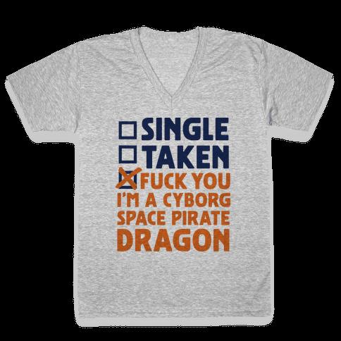 F*** You I'm a Cyborg Space Pirate Dragon V-Neck Tee Shirt
