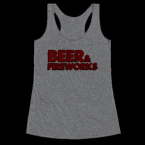 Beer & Fireworks Racerback Tank Top