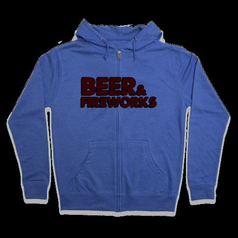 Beer & Fireworks Zip Hoodie