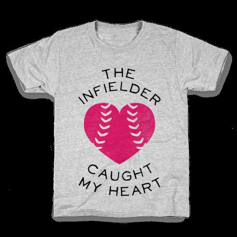 The Infielder Caught My Heart (Baseball Tee) Kids T-Shirt