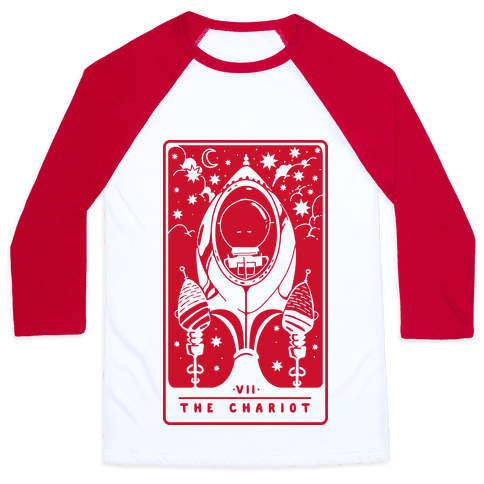 The Chariot Space Rocket Tarot Card Baseball Tee