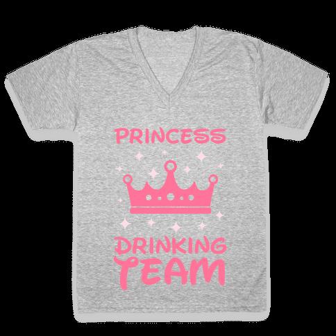 Princess Drinking Team (Light Print) V-Neck Tee Shirt