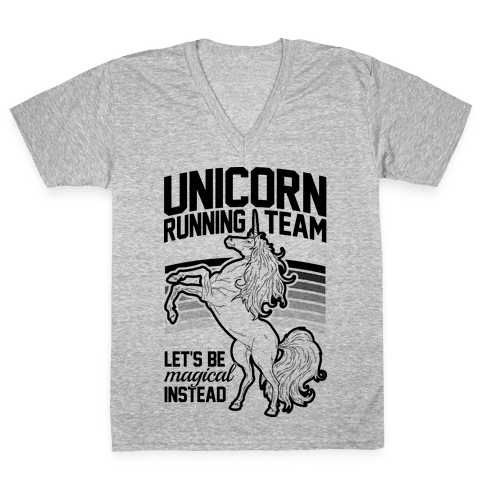 Unicorn Running Team V-Neck Tee Shirt
