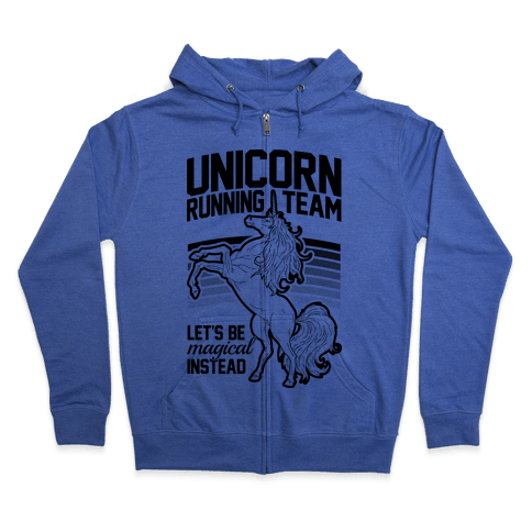 Unicorn Running Team Zip Hoodie