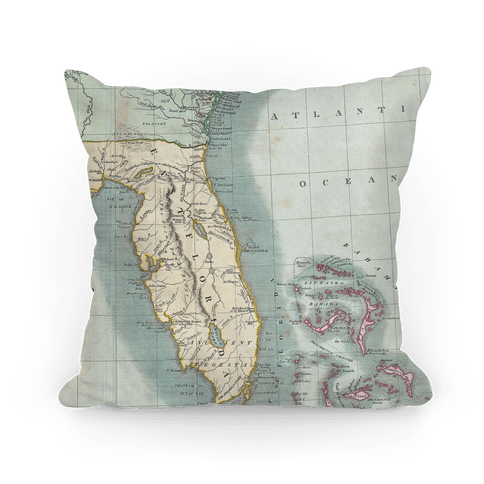 Vintage Coast Map Pillow