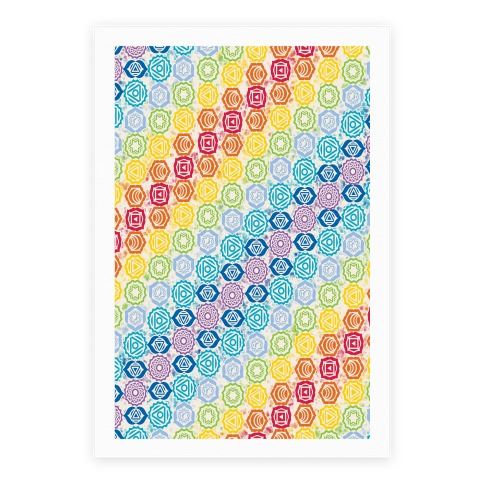 Watercolor Chakra Symbol Pattern Poster