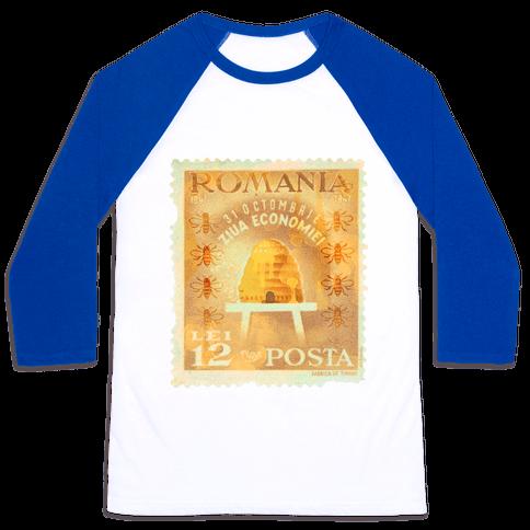 Romanian Bee Stamp Baseball Tee